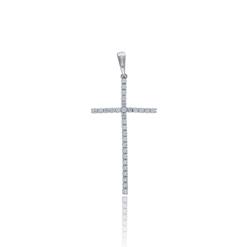 925 Sterling Silver Men CZ Cross Religious Charm Pendant - Drip Brother