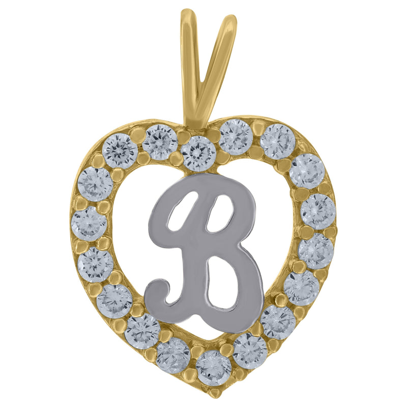 10kt Two-Tone Gold Womens Cubic Zirconia Heart Initials Charm Pendant - Drip Brother