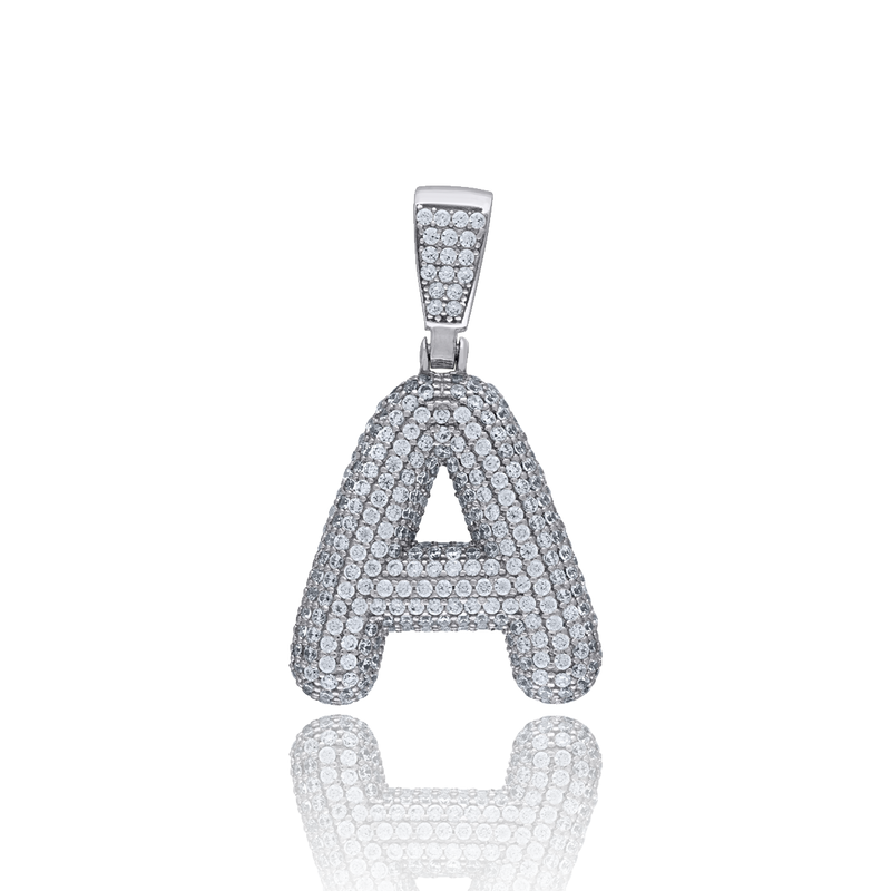 925 Sterling Silver Men CZ Initial Alphabet L Charm Pendant - Drip Brother