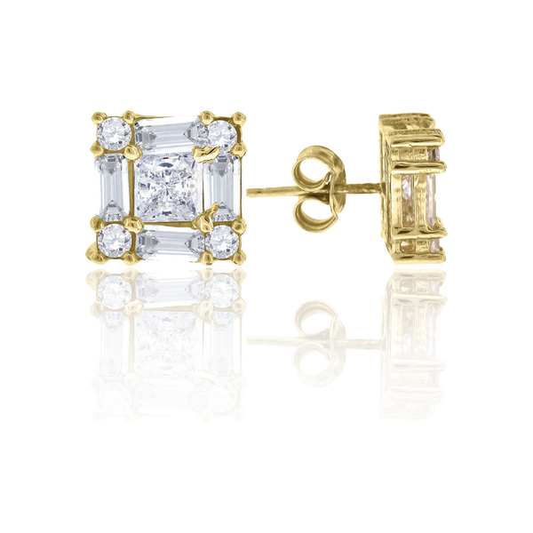 10kt Yellow Gold Mens Baguette & Princess Cut CZ Cubic Zirconia Square Stud Earrings - Drip Brother
