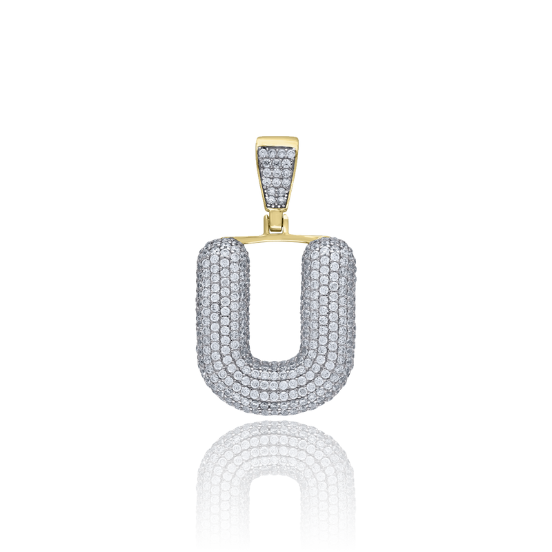 925 Sterling Silver Yellow-tone Men CZ Initial Alphabet L Charm Pendant - Drip Brother
