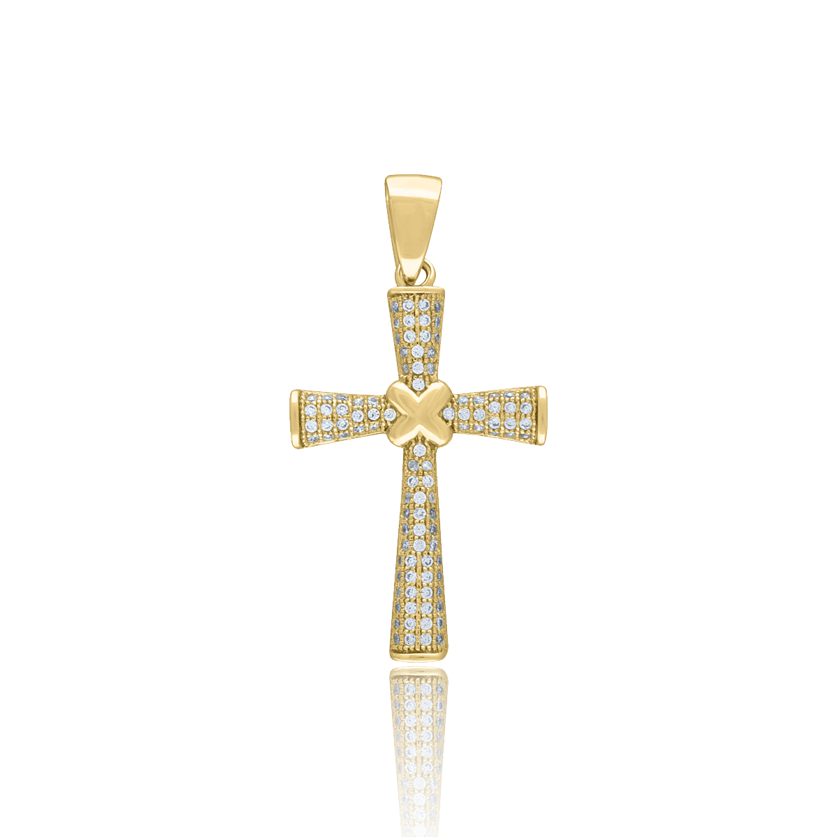 Pendants Religious Charms .925 Sterling Silver Budded Cross Enhancer