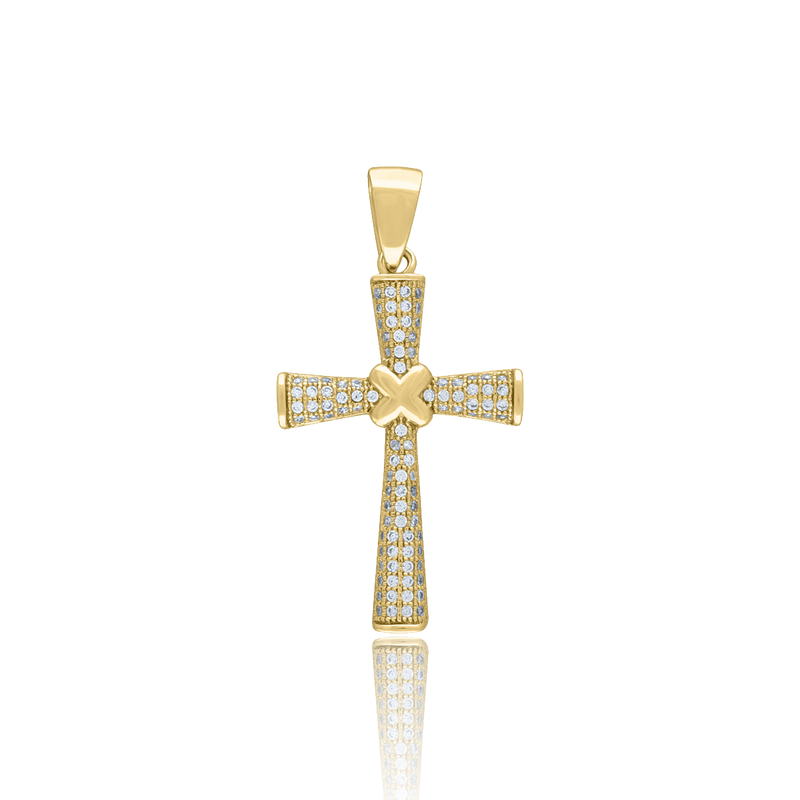 925 Sterling Silver Yellow-tone Men CZ Cross Religious Charm Pendant - Drip Brother