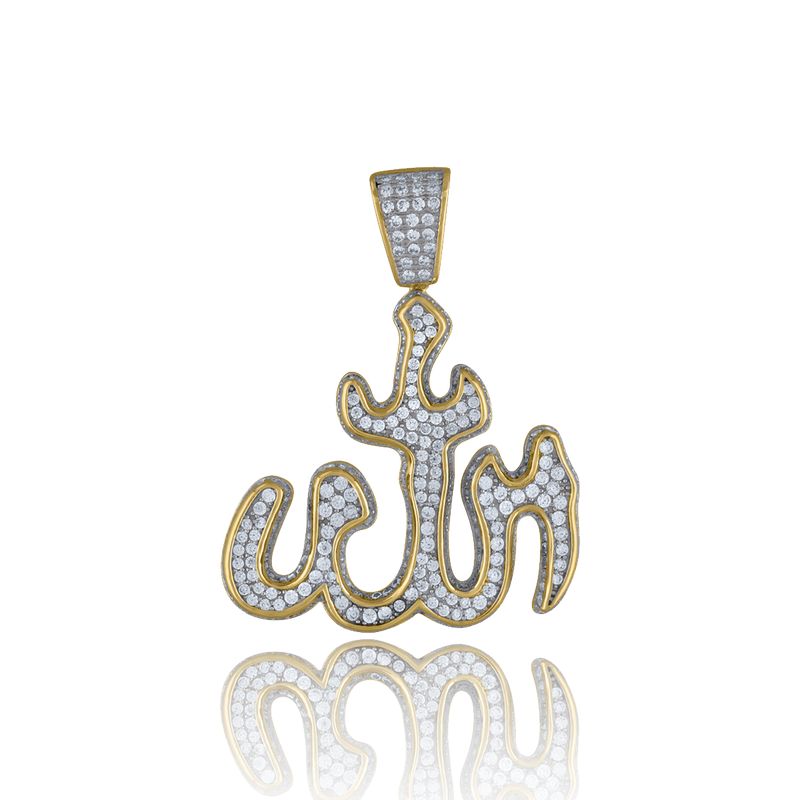 925 Sterling Silver Yellow-tone Men Cubic Zirconia Religious Allah Charm Pendant - Drip Brother