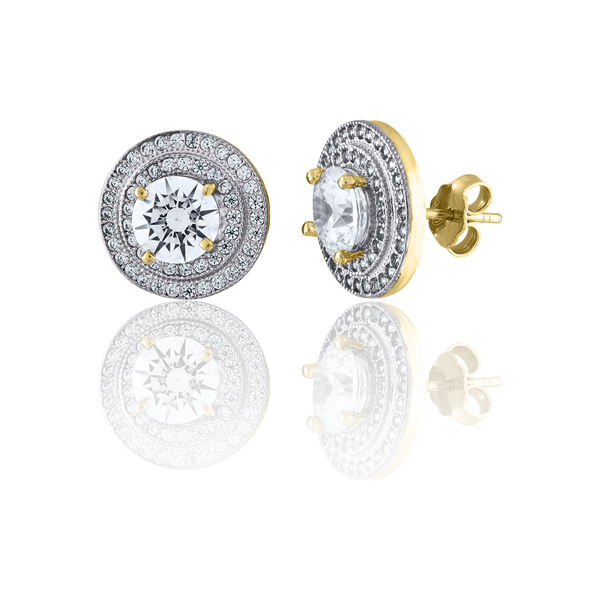 10kt Two-Tone Gold CZ Womens Polished Finish Push Back Stud Earrings - Drip Brother