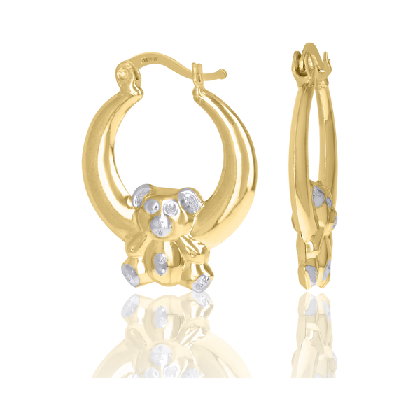 10kt Two-Tone Gold Womens Teddy Bear Hoop Earrings - Drip Brother
