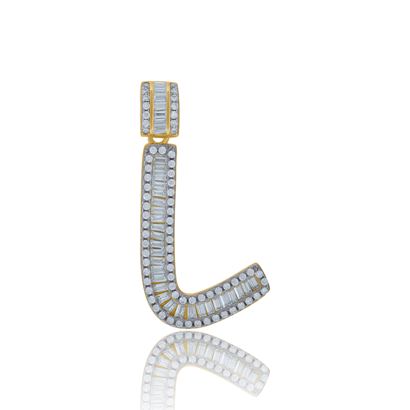 925 Sterling Silver Yellow-tone Men Baguette Cubic-zirconia Initial Alphabet A Charm Pendant - Drip Brother