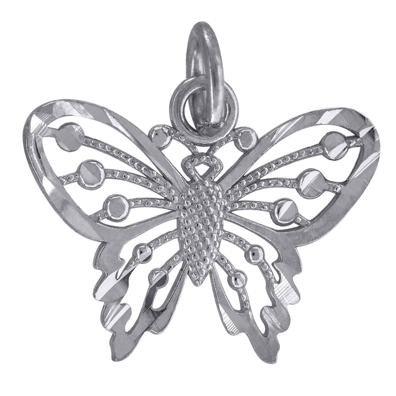 10kt White Gold Womens Diamond-Cut Butterfly Charm Pendant - Drip Brother
