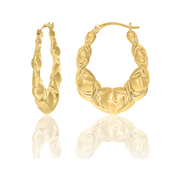 10kt Yellow Gold Dc Brushed Womens Xo Hugs & Kisses 28mm Hinged Hoops Huggies - Drip Brother