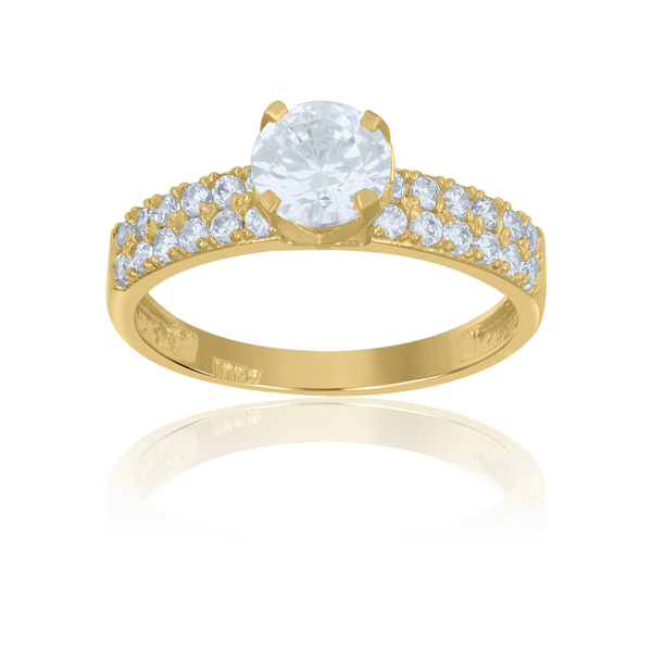 10kt Two-Tone Gold Womens Cubic Zirconia Double Row Engagement Ring - Drip Brother