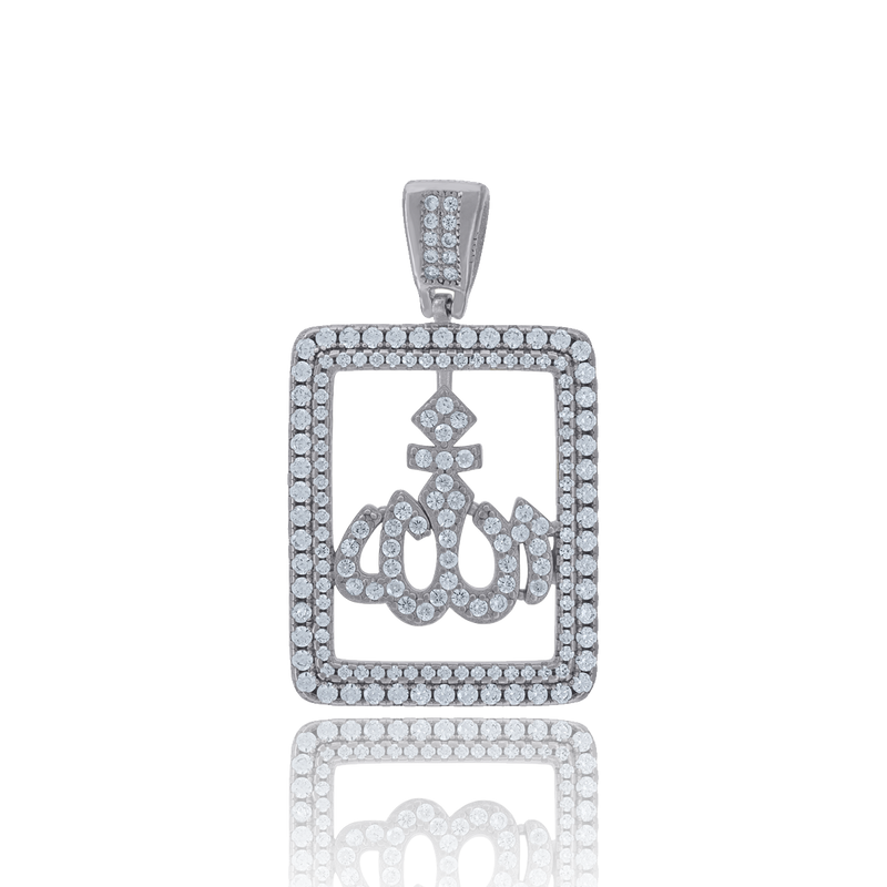 925 Sterling Silver Men Cubic Zirconia Religious Allah Charm Pendant - Drip Brother