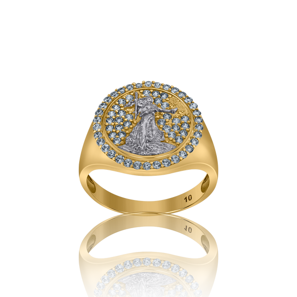10kt Two-Tone Gold Mens Cubic Zirconia Textured Lady Liberty Signet Band Ring - Drip Brother