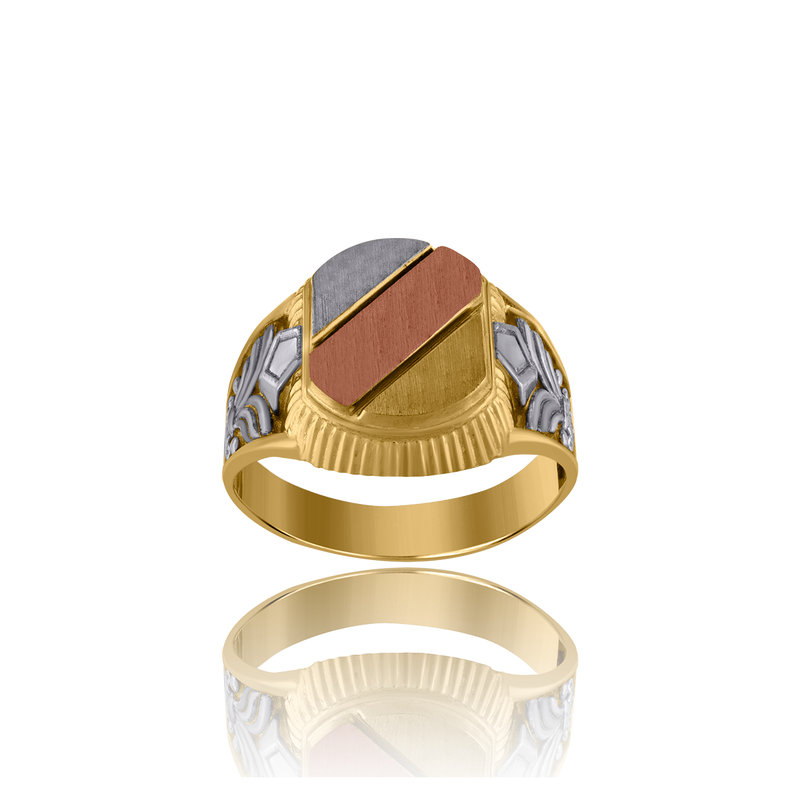 10kt Tri-Color Gold Mens Fashion Diagonal Lines Signet Ring - Drip Brother