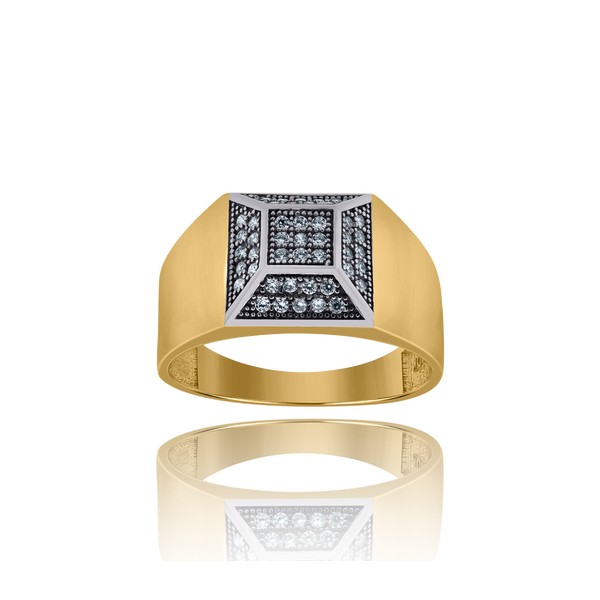 10kt Two-Tone Gold Mens Round Cubic Zirconia Signet Band Ring - Drip Brother