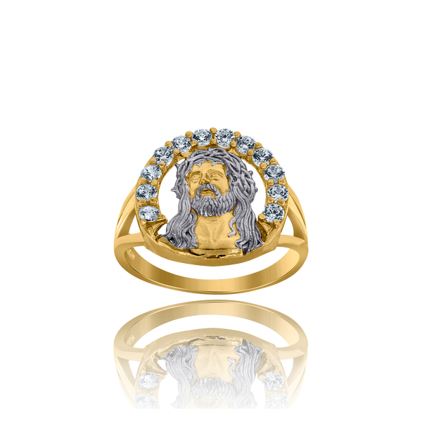 10kt Two-Tone Gold Mens Cubic Zirconia CZ Jesus Face Religious Ring - Drip Brother