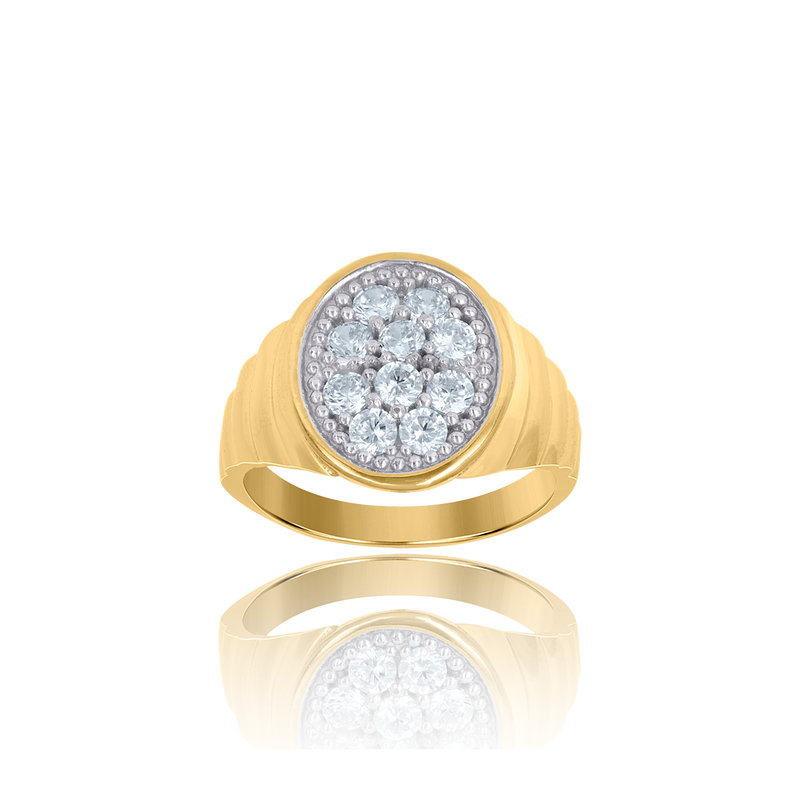 10kt Two-Tone Gold Mens Cubic Zirconia Oval Engagement Ring - Drip Brother