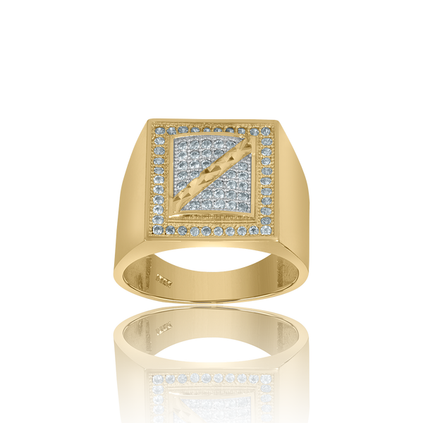 10kt Yellow Gold Mens Cubic Zirconia Square Head Fashion Ring - Drip Brother