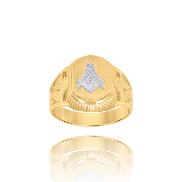 10kt Two-Tone Gold Mens Masonic Signet Ring - Drip Brother