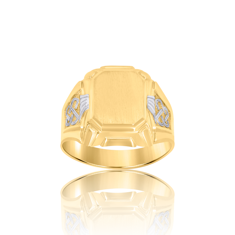 10kt Two-Tone Gold Mens Octagonal Head Signet Ring - Drip Brother