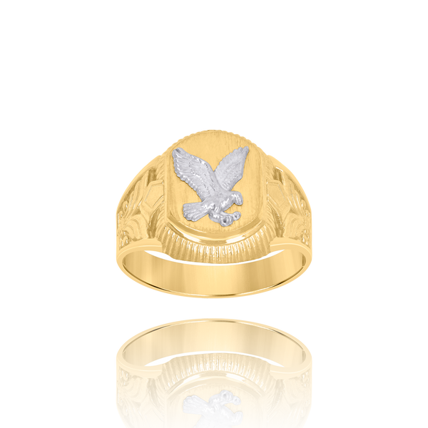 10kt Two-Tone Gold Mens Eagle Signet Ring - Drip Brother