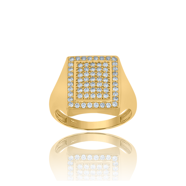 10kt Yellow Gold Mens Cubic-Zirconia Square Head Cluster Fashion Rings - Drip Brother