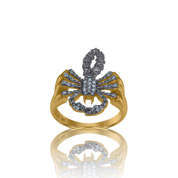 10kt Two-Tone Gold Mens Cubic Zirconia Dc Scorpion Band Ring - Drip Brother