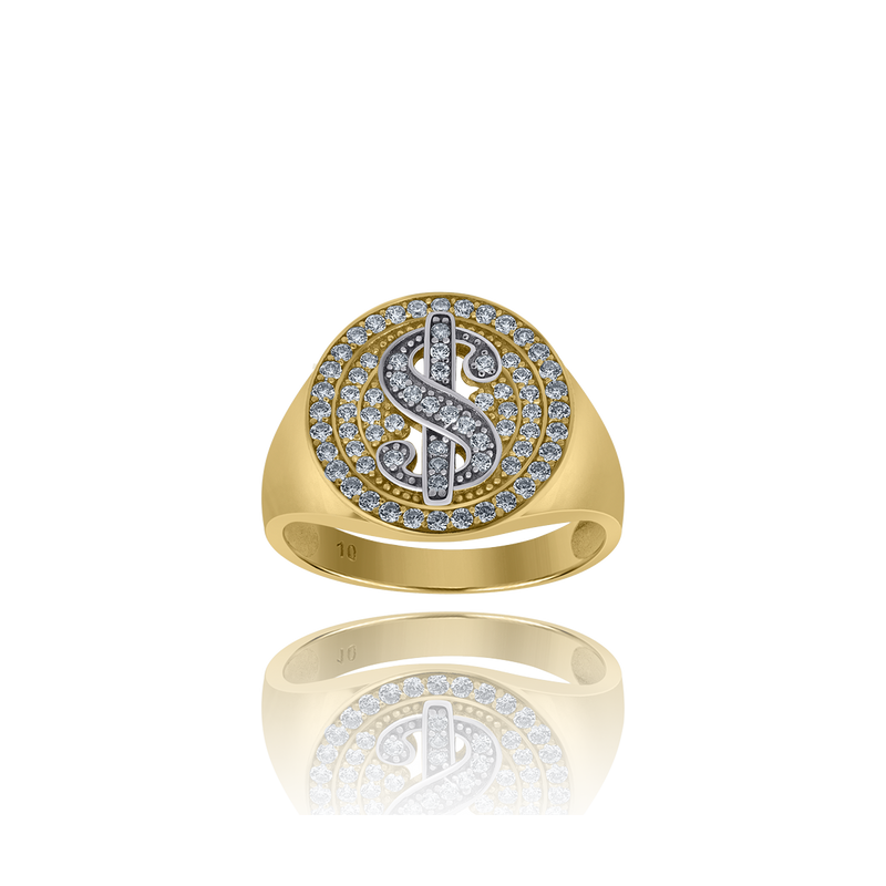 10kt Two-Tone Gold Mens Cubic Zirconia Dollar Sign Signet Ring - Drip Brother