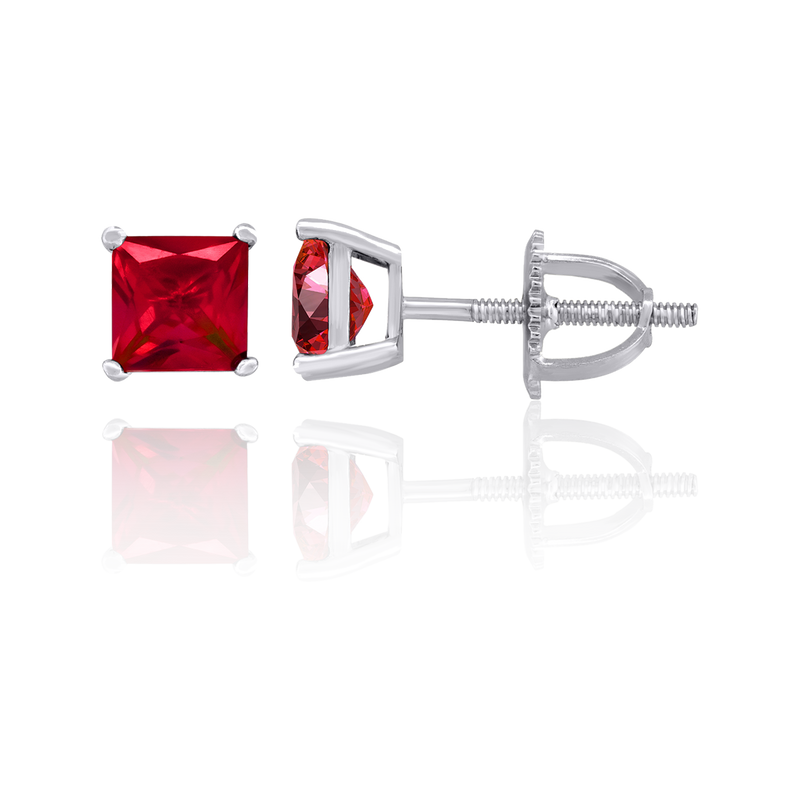 925 Sterling Silver Womens Red Princess Cut Cubic Zirconia 5mm Square Classic Studs Earrings