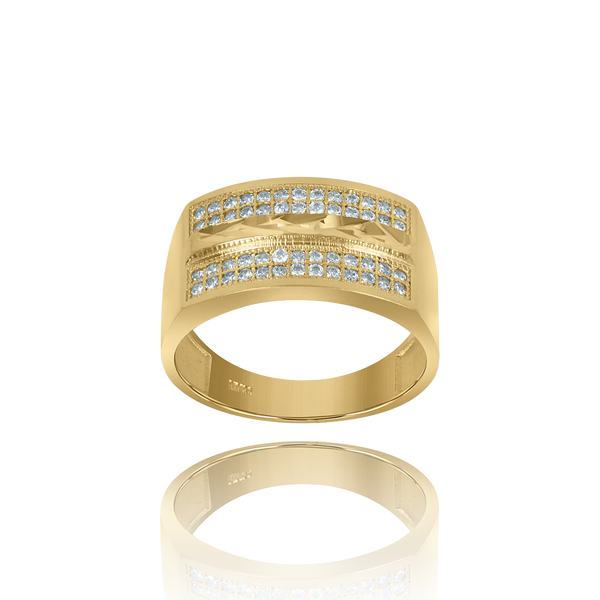 10kt Two-Tone Gold Mens Cubic Zirconia Dc Wedding Band Ring - Drip Brother
