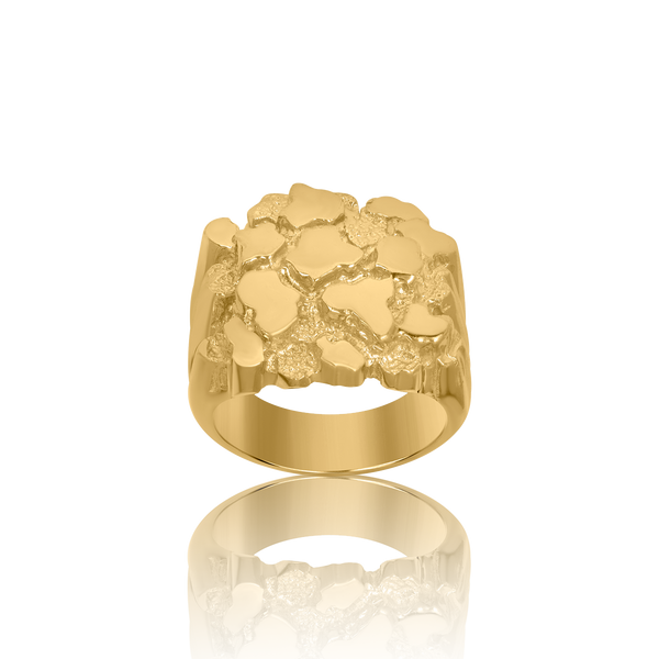 10kt Yellow Gold Mens Nugget Textured Band Ring - Drip Brother