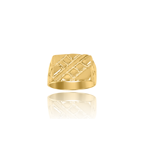 10kt Yellow Gold Mens Nugget Fashion Ring - Drip Brother