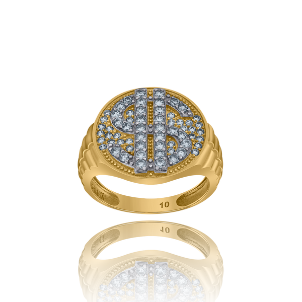 10kt Two-Tone Gold Mens Cubic Zirconia Dollar Sign Bag Signet Ring - Drip Brother