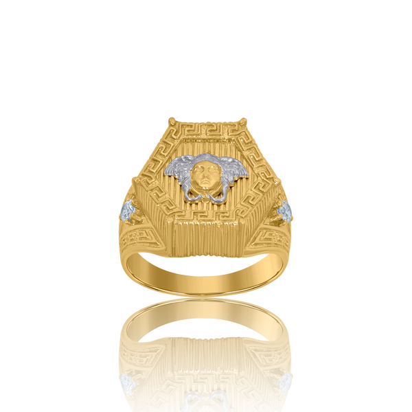 10kt Two-Tone Gold Mens Versace Greek Key Egyptian Rings - Drip Brother