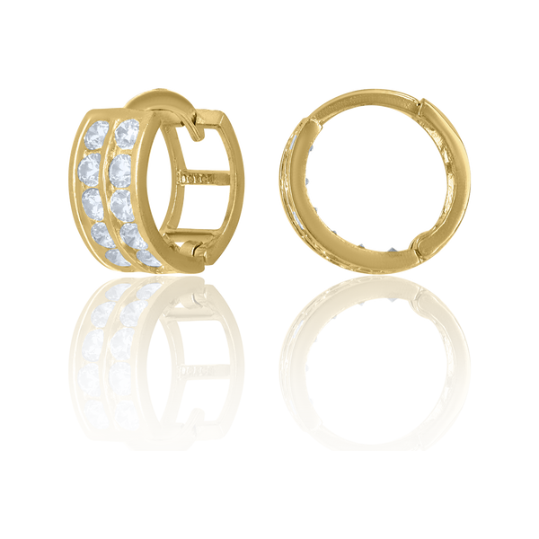 10kt Yellow Gold CZ Womens Double Row 11mm Endless Hoops Huggies - Drip Brother