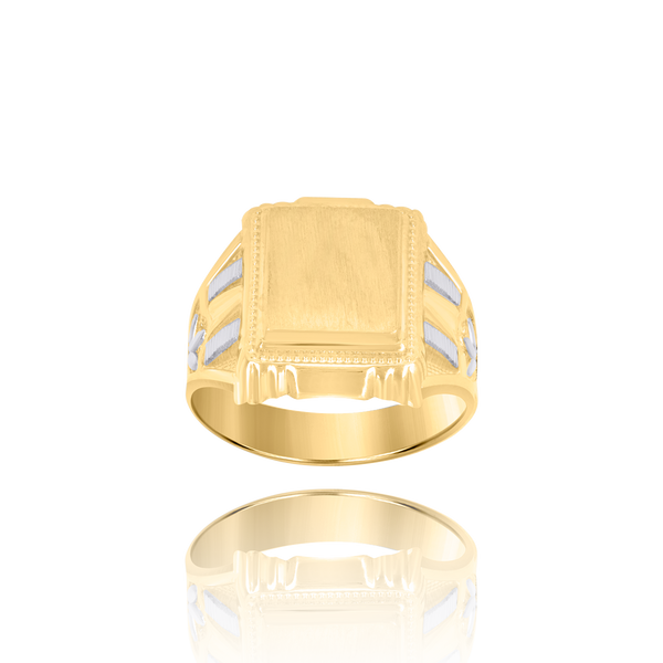 10kt Two-Tone Gold Mens Square Head Signet Ring - Drip Brother