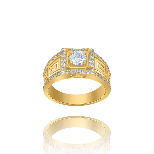 10kt Yellow Gold Mens Cubic-Zirconia Square Head Fashion Rings - Drip Brother