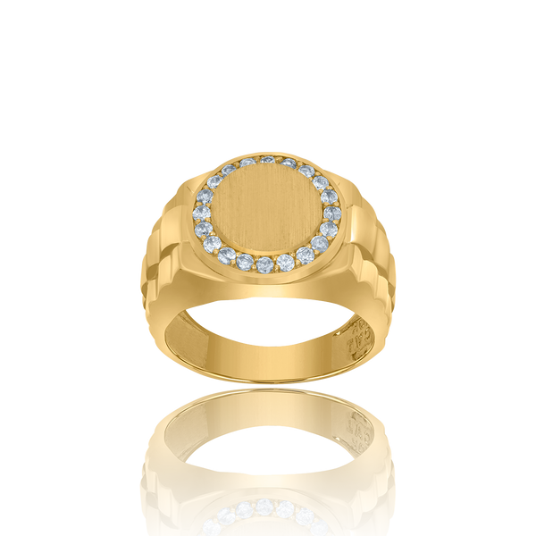 10kt Yellow Gold Mens Cubic-Zirconia Round Head Presidential Rings - Drip Brother