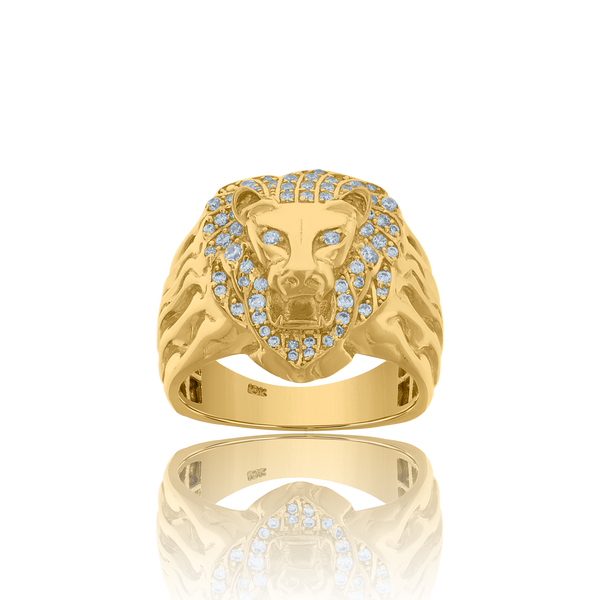 10kt Yellow Gold Mens Cubic-Zirconia Animal Lion Fashion Rings - Drip Brother