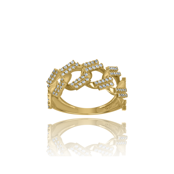 10kt Yellow Gold Mens Cubic-Zirconia Cuban Link Fashion Rings - Drip Brother