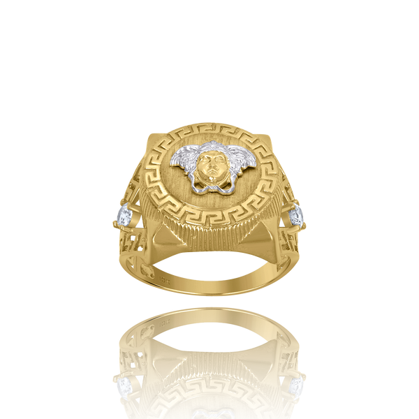 10kt Two-Tone Gold Mens Cubic-Zirconia Versace Greek Key Egyptian Rings - Drip Brother