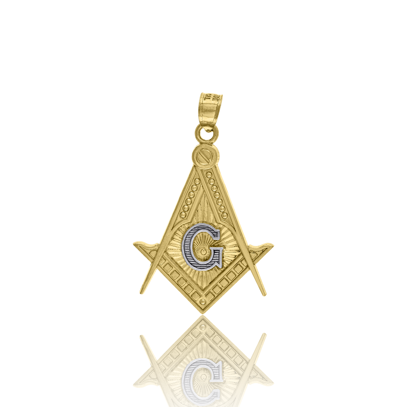 10kt Two-Tone Gold Mens Masonic Freemasonry Occupation Charm Pendant - Drip Brother