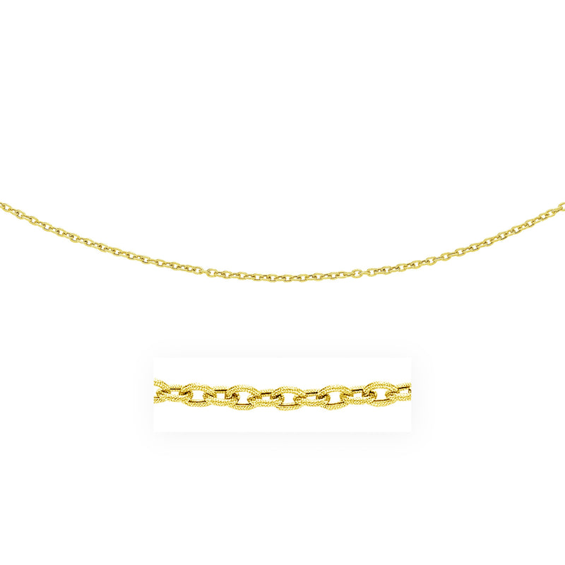 3.5mm 14k Gold Pendant Chain with Textured Links