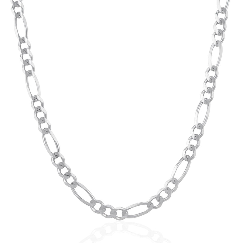 6.0mm 14k White Gold Solid Figaro Chain