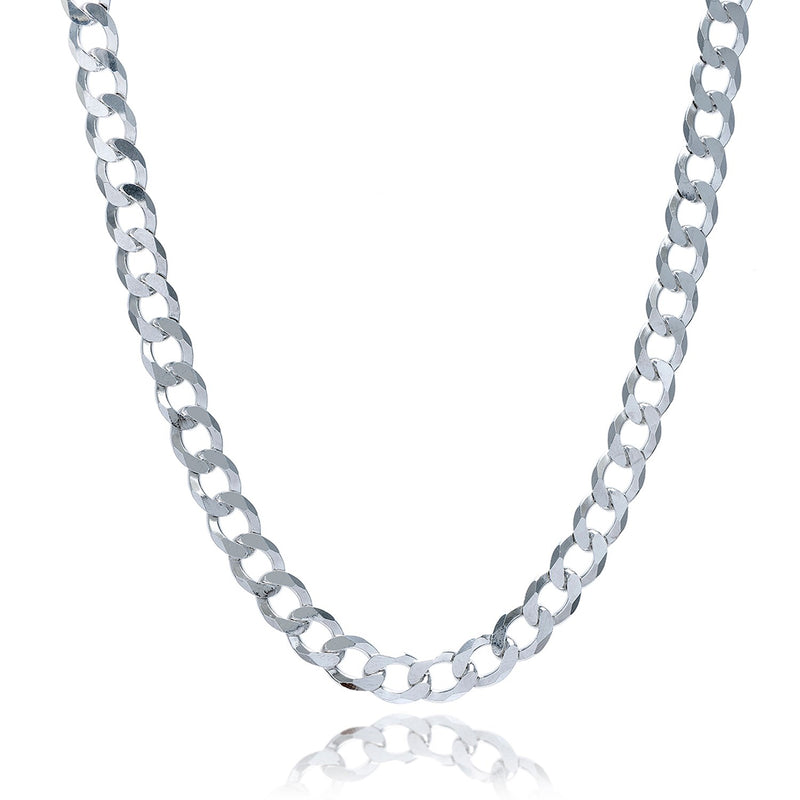 Rhodium Plated 7.9mm Sterling Silver Curb Style Chain