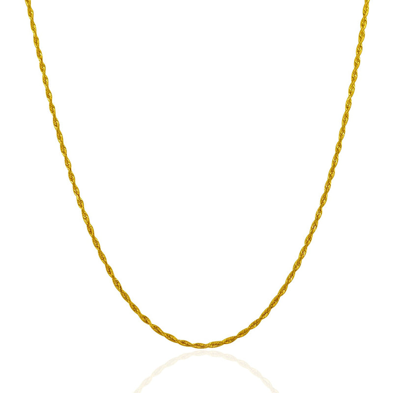 10k Gold Solid Diamond Cut Rope Chain 1.5mm