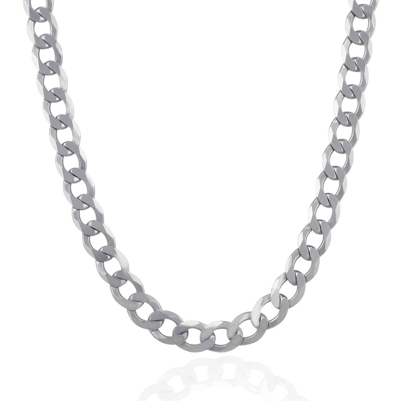 Rhodium Plated 9.5mm Sterling Silver Curb Style Chain