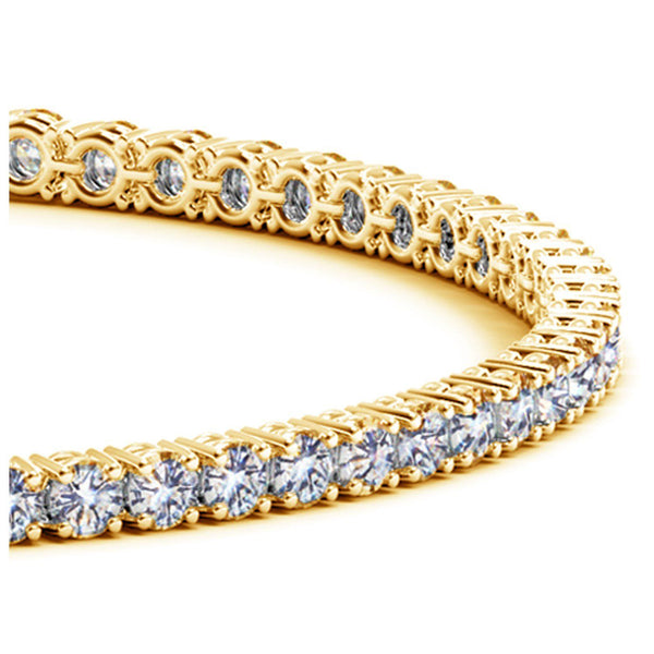 14k Yellow Gold Round Diamond Tennis Bracelet (4 cttw) - Drip Brother