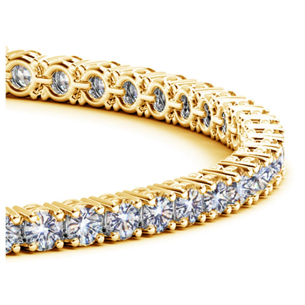 14k Yellow Gold Round Diamond Tennis Bracelet (6 cttw) - Drip Brother