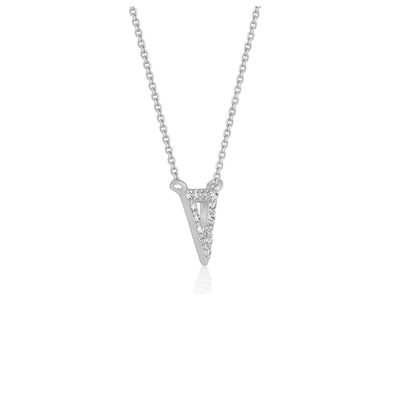 Diamond Inverted Triangle Pendant in 14k White Gold - Drip Brother