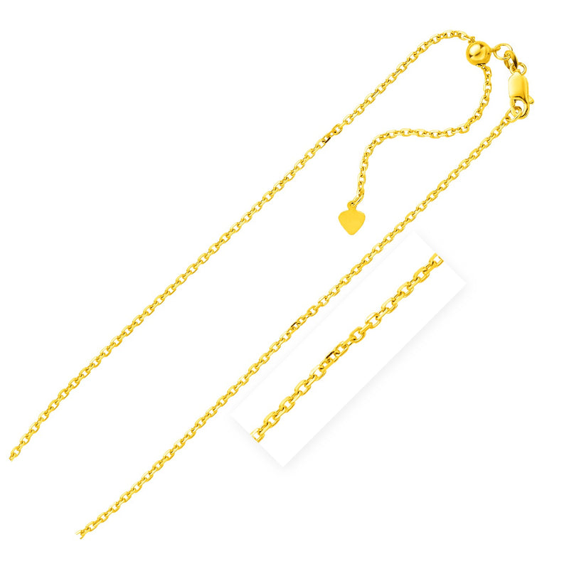 Sterling Silver Yellow Finish 1.5mm Adjustable Cable Chain